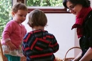 Oona Alexander playing with two toddlers